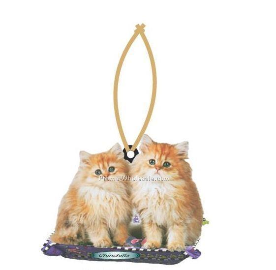 Chinchilla Cat Executive Line Ornament W/ Mirrored Back (6 Sq. Inch)