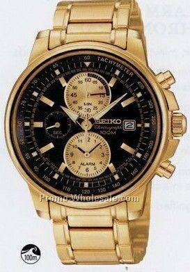 Men`s Seiko Alarm Chronograph Watch /Gold W/ Black Face