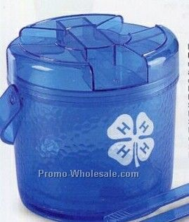 Plastic Ice Bucket W/ Tongs (64 Oz.)