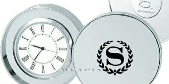 Round Platinum Coin Clock With Cover