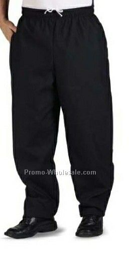 Solid Black 7 Oz. 100% Spun Polyester Baggy Chef Pant - (2xl-3xl)