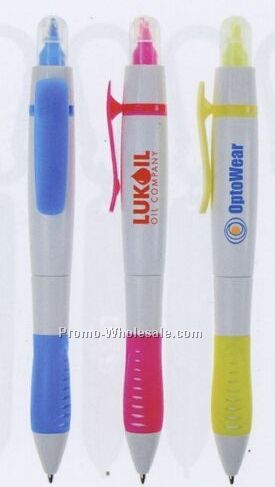 White Double Duty Pen Highlighter - Factory Direct (8-10 Weeks)
