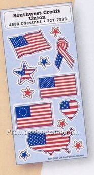 White Paper Patriotic Stickers With Flags