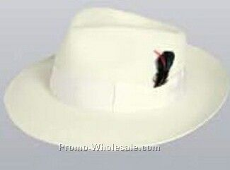 White Wool Felt Zoot Suit Hat W/ Feather (S-xl)