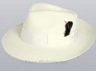 White Wool Felt Zoot Suit Hat W/ Feather (S-xl)
