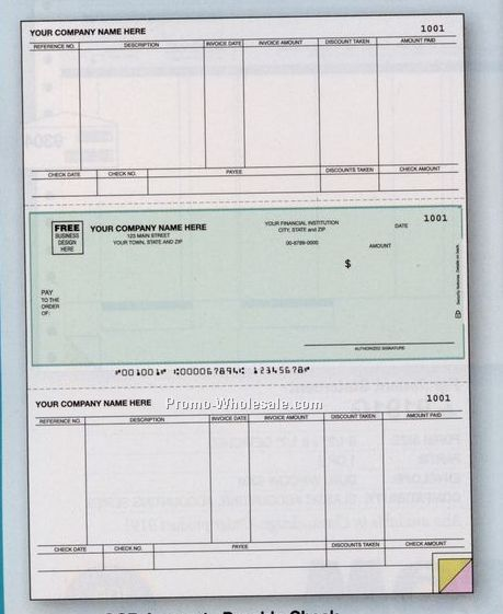 1 Part Ocr Accounts Payable Laser Check (Peachtree Compatible)