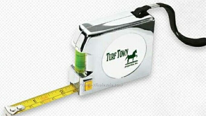 """12' Giftcor Chrome Tape Measure With Level 2-3/4""""x2-1/4"""""""