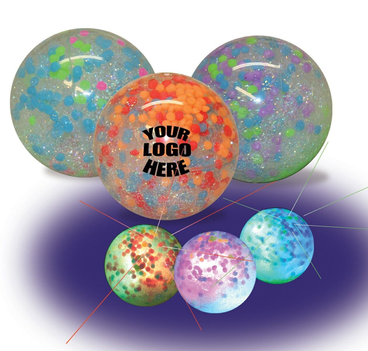 "2-1/4"" Hi-bounce Light Up Confetti Water Ball"