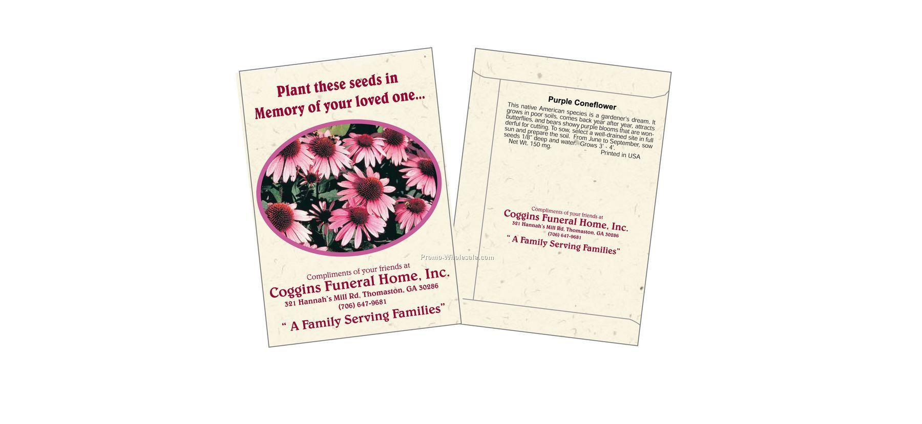 """3-1/4""""x4-1/2"""" Purple Coneflower Seed Packet (1 Color)"""