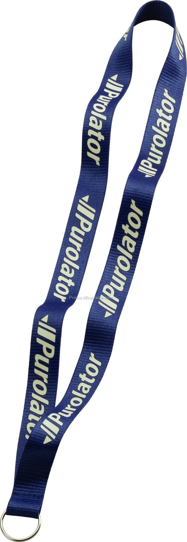 """3/4"""" Imported Polyester Glow Imprint Lanyard With Sewn Split Ring"""