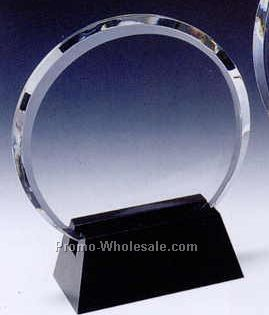 "6-1/2""x5-1/2""x2-3/8"" Black Optic Crystal Circle Award W/ Base"