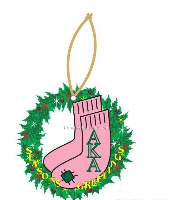 Alpha Kappa Alpha Sorority Socks Wreath Ornament W/ Mirror Back(8 Sq. Inch)