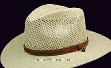 Beige Straw Stetson Legendary Hats W/ Leather Strap