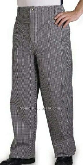 Black & White Check 65/35 Poly Cotton 5-1/2 Oz Chef Pant - 28w-50w Inseam