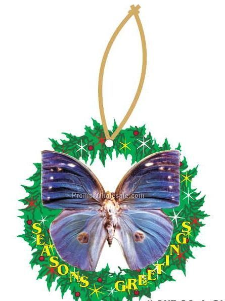 Blue Butterfly Executive Line Wreath Ornament W/ Mirror Back (8 Sq. Inch)