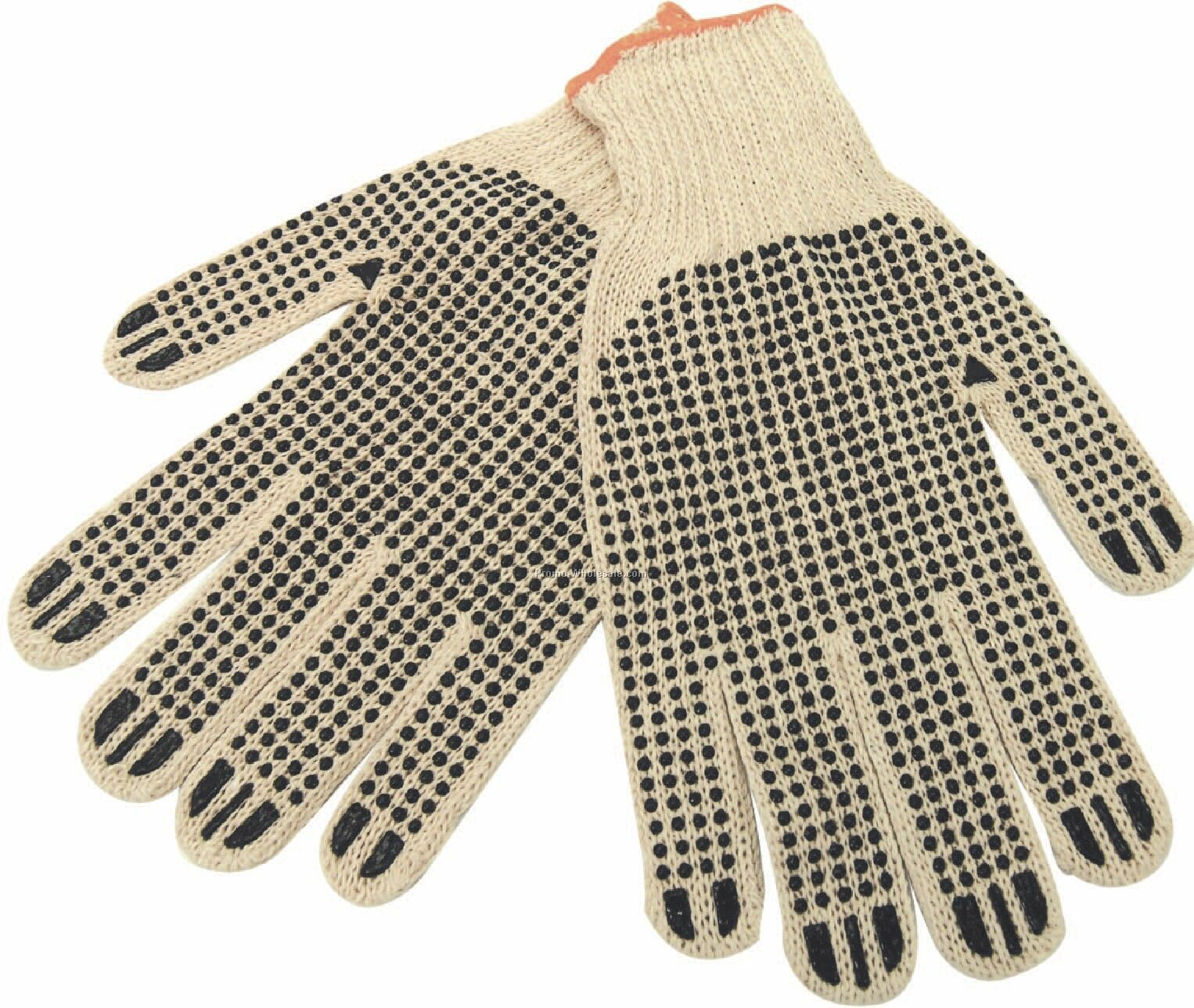 Cotton Work Gloves With Rubber Grip Dots (Blank)