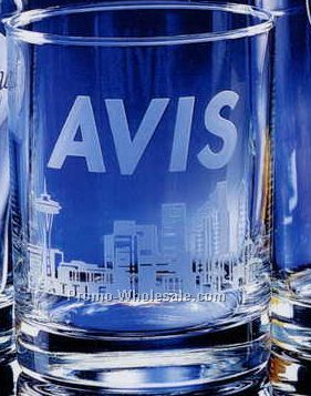 Double Rocks Skyline Classic Barware Glass (Deep Etched)