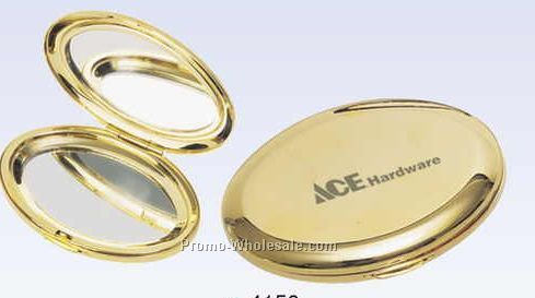 Gold Plated Metal Oval Compact Mirror (Screened)