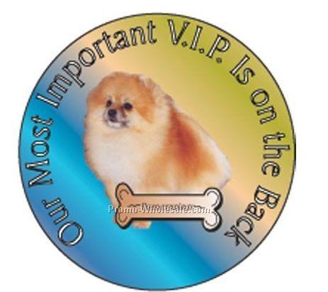"Pomeranian Dog Round Hand Mirror W/ Full Mirror Back (2-1/2"")"