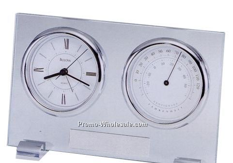 Bulova Camberley Alarmed Clock & Thermometer