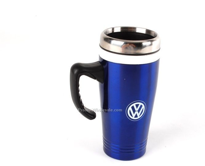 Stainless steel travel mug with middle rubber/silicon