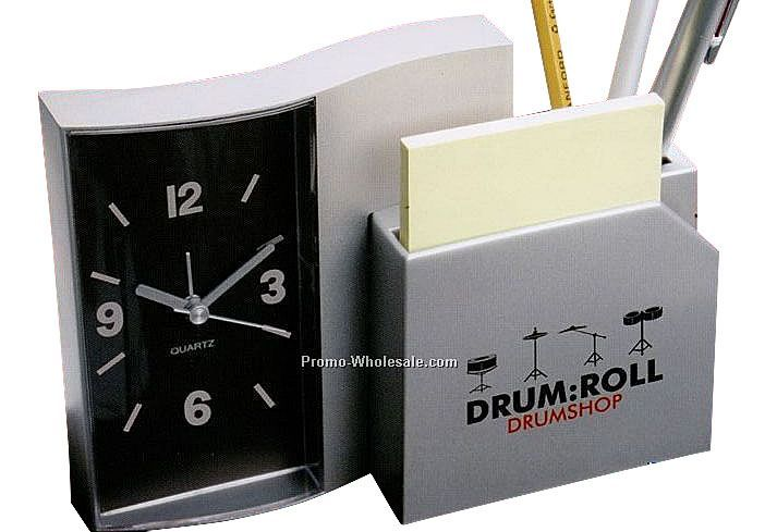 Desk Organizer With Alarm Clock, Pen Holder And Notepad Holder