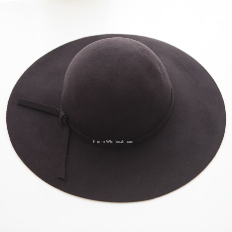 Black popular lay wool hat with bow