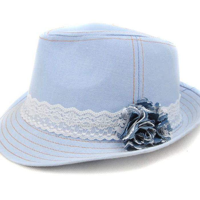 Denim cotton fedra with lace flowers band
