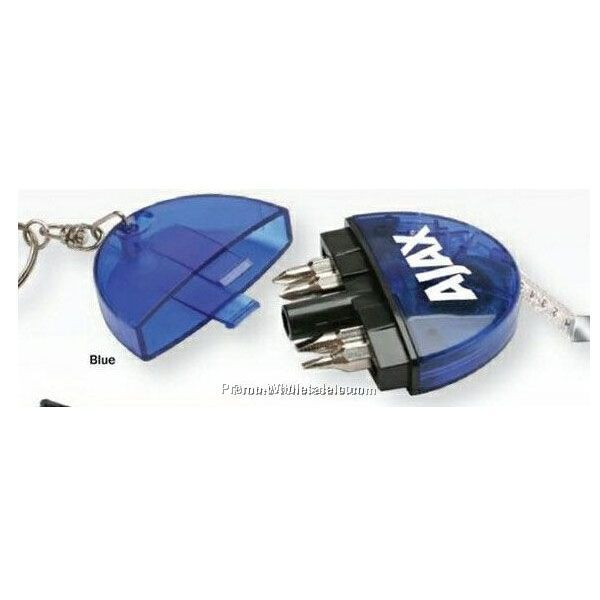 Multi-function Keychain Tape Measure W/ LED Light & 4 Screwdriver Bits