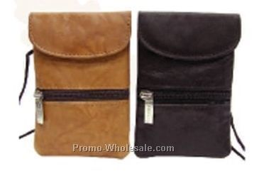 10cmx13cmx1/2cm Black Stone Wash Pouch With Top Flap & Zipper