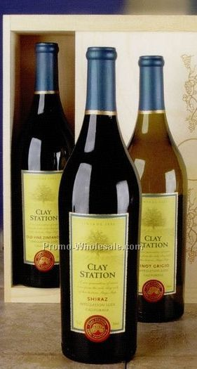 "16""x4""x6"" Vinyard Classics Clay Station Trio W/ Wooden Crate"