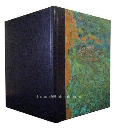 "4-1/4""x14"" Patina Copper Menu Cover With Leather Back-style 1v"