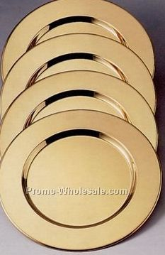 "4 Set 12"" Brass Plated Charger Plate"