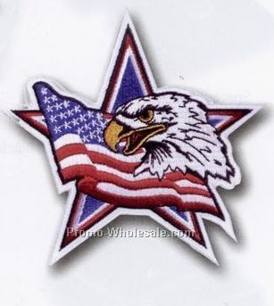 "4""x4"" 100% Embroidery Stock Flag/Eagle/Star Patch"
