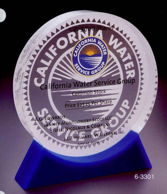 "5""x5-5/8""x1"" Acrylic Round Award W/ Double Cast Base"