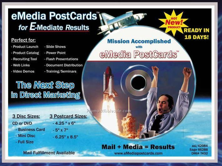 "6-1/4""x8-1/2"" Emedia Post Card W/ Full Size DVD Rm"