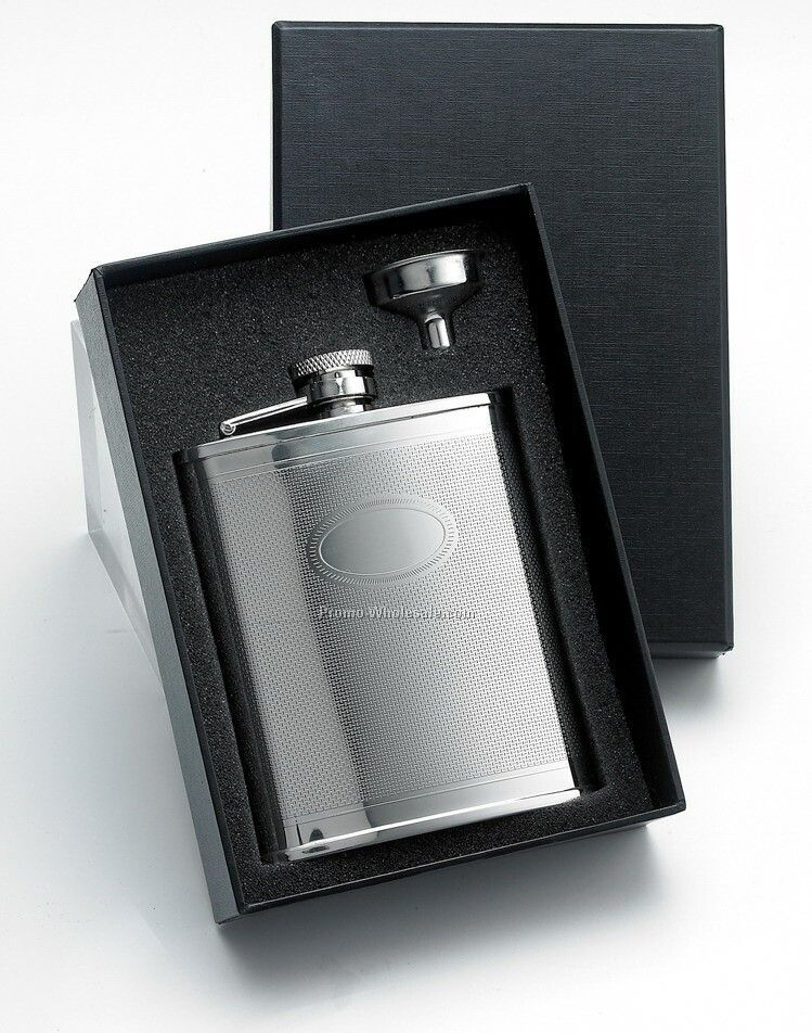 6 Oz Stainless Steel Flask With Front Oval Panel And Silver Funnel In Black