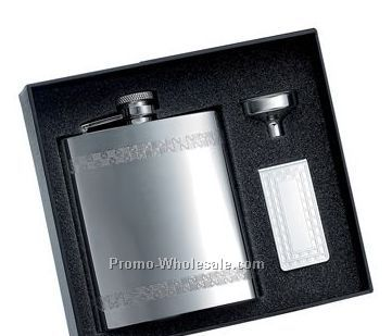 8 Oz Stainless Steel Flask W/Narrow Decorative Stripes And Matching Money C