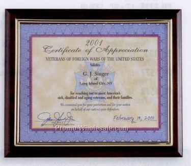 "8""x10"" Walnut Finish Certificate Holder Or Photo Frame/ Plaque"