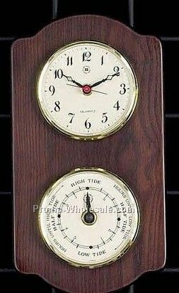 Brass Tide Clock/Barometer/Thermometer On Ash Wood Base
