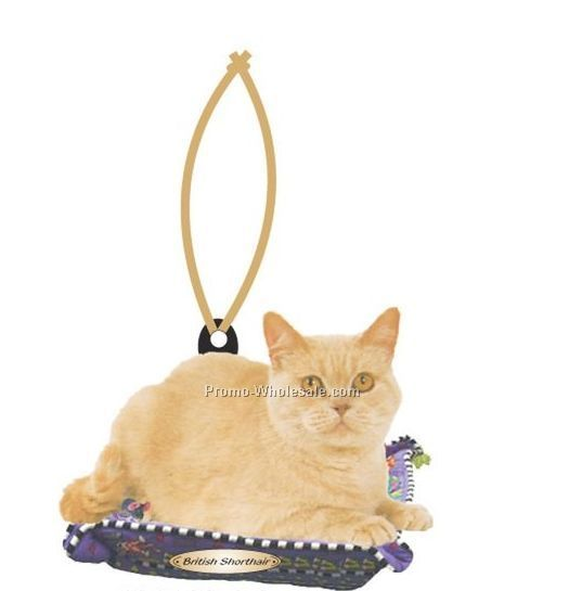 British Shorthair Cat Executive Line Ornament W/ Mirrored Back (8 Sq. Inch)