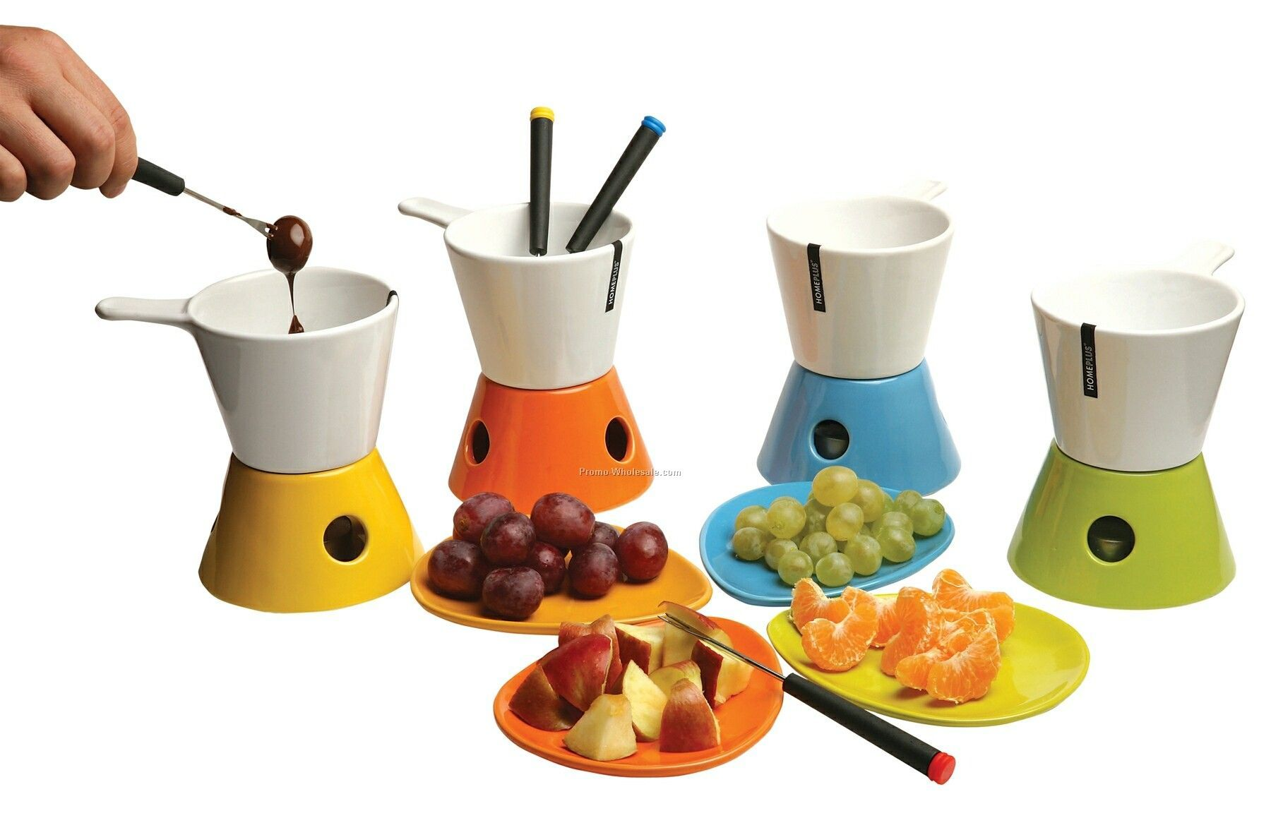 Ceramic Chocolate Fondue 4-piece Set