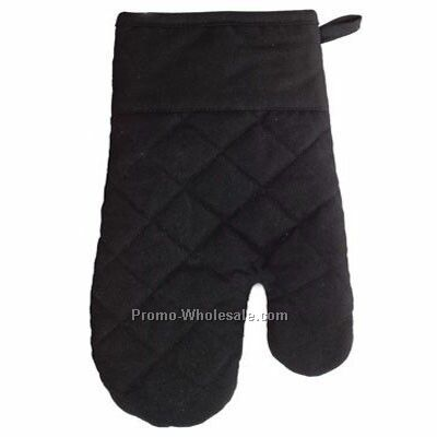 "Giftcor Black Cotton Oven Mitt 6-3/4""x11""x3/4"""