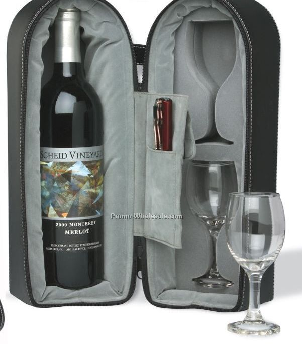 Laser Engraved Wine Travel Case With Two Glasses