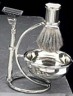 Mach 3 Razor, Badger Brush & Soap Dish On Stand In Black Gold Plated