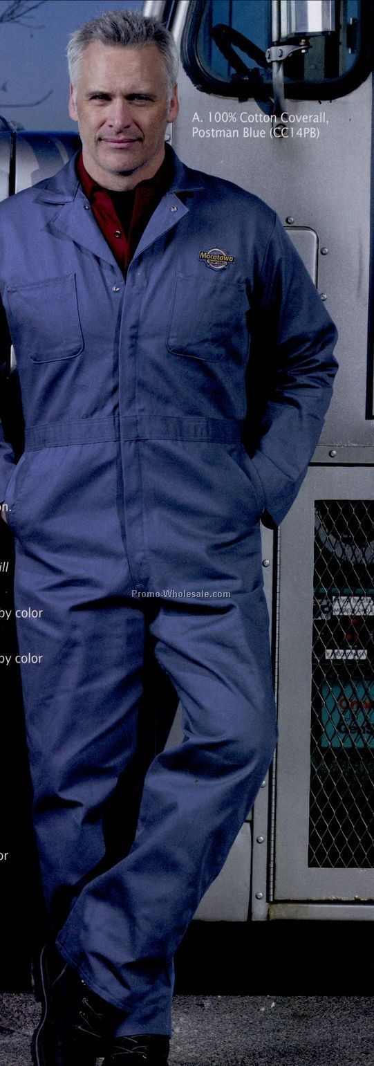 Men's 100% Cotton Coverall With Button Front Closure