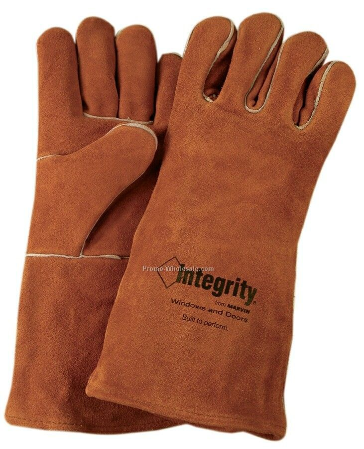 Men's Leather Welder & Fireplace Gloves With Fully Welted Seams (Large)