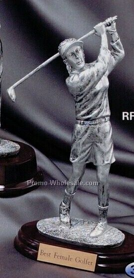 "Metal Plated Resin Sculpture - 8-1/2"" Female Golfer"