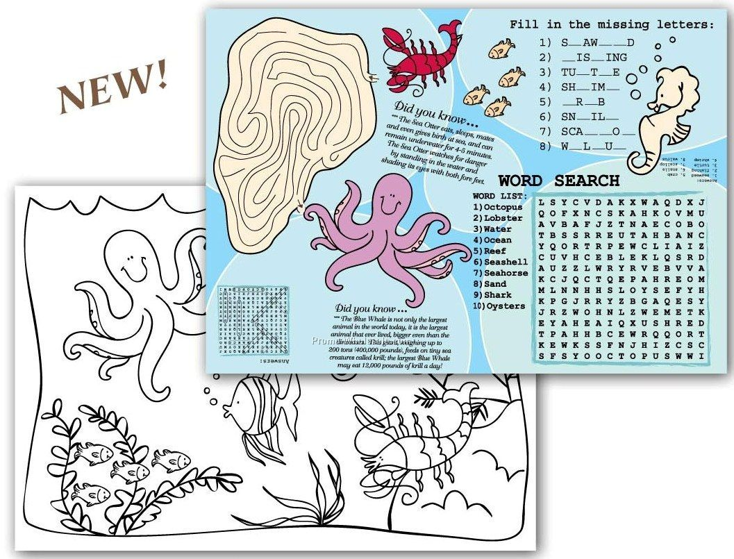 "Sea Life Children's Activity Place Mat (10""x14"")"