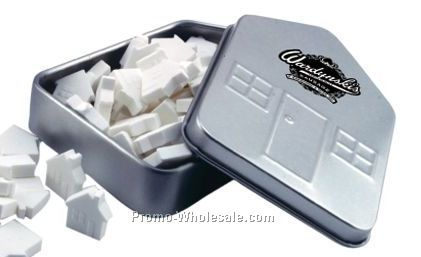 Small House Tin W/ Chocolate Flavor Mints (2 Day Service)